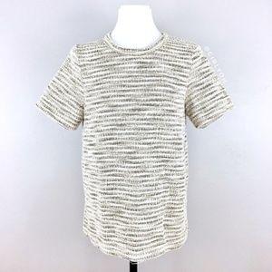 Postmark Anthro White Gold Tweed Short Sleeve Top